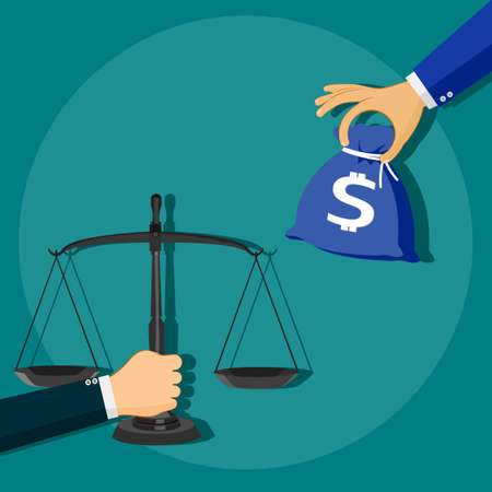 Scales for money exchange. The concept of dishonesty. vector illustration. Vettoriali