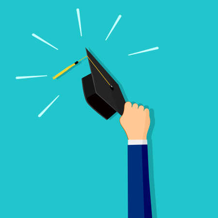 People hold a graduation cap. Concept of educational success. Vector illustration eps