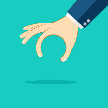 The hand is picking up things.isolated on background. vector illustration eps