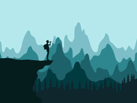 Silhouette of a tourist on a cliff looks in the binoculars. landscape of the forest. vector
