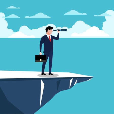 Visionary leadership concept with businessman looking through telescope from a cliff
