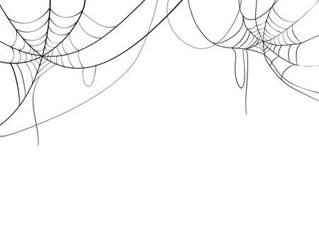 Black spider web. Scary spiderweb of halloween symbol. Isolated on white background. vector illustration