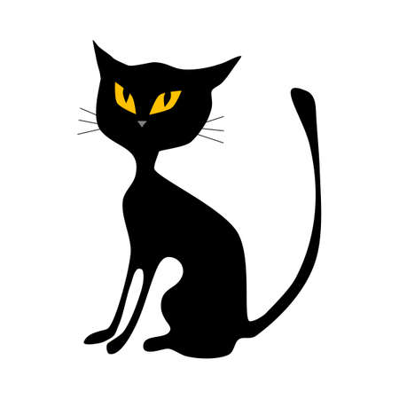 Black cat. halloween cat isolated on white background. vector illustration