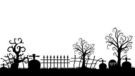 Silhouette of tombstones. crosses and castles. cemetery elements. Vector illustration Ilustração Vetorial