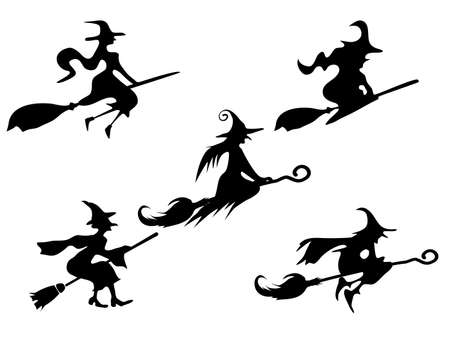 set of silhouettes Witch On Broomstick. for Illustration vector halloween