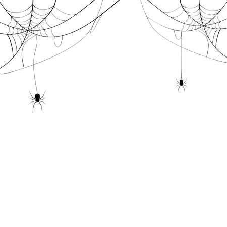 Black spider and spider web. Scary spiderweb of halloween symbol. Isolated on white background. vector illustration eps Vektorgrafik