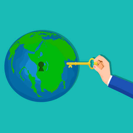 People use the keys to unlock the world. The idea of solving the secrets of the world vector