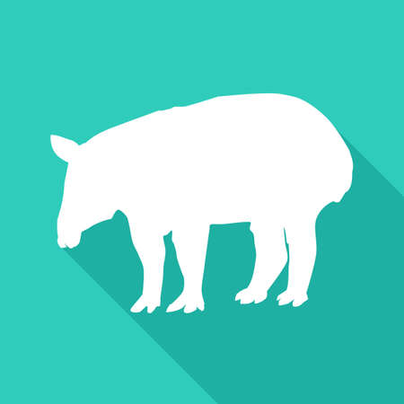 tapir icon with long shadow. white tapir logo. vector illustration eps Иллюстрация