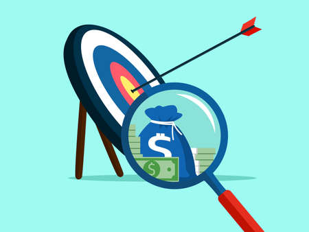 Magnifying glass and target. The idea of ​​success goals is money vector Ilustração