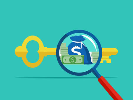 Magnifying glass and keys. The concept of the keys to success makes money vector 矢量图像