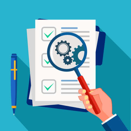 Business documents and magnifying glass. Business document analysis and review vector Ilustración de vector