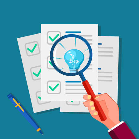 A light bulb in a magnifying glass and paper for business documents. Document analysis with clarity vector