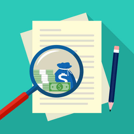 Stacks of money in a magnifying glass and paper for business documents. Analysis of financial documents vector 向量圖像
