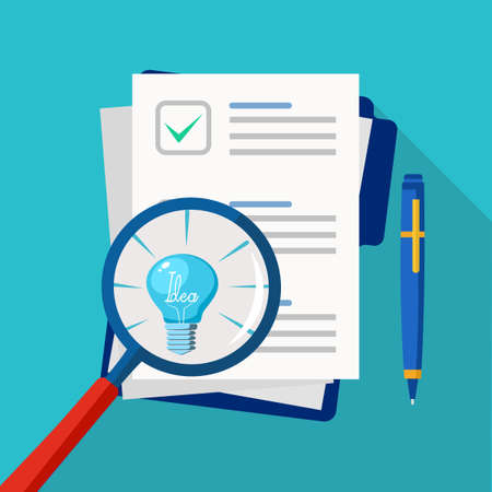 A light bulb in a magnifying glass and paper for business documents. Document analysis with clarity vector 矢量图像