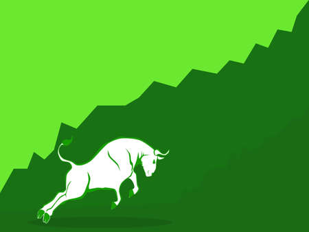 Bull market vector. The concept of Bull market on stock market investment good situation vector 向量圖像