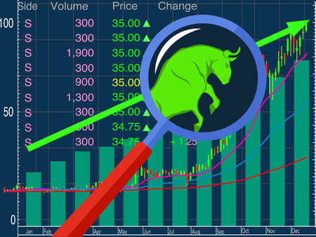 Stock market vector Forex symbol bull Growing market On a bule background vector
