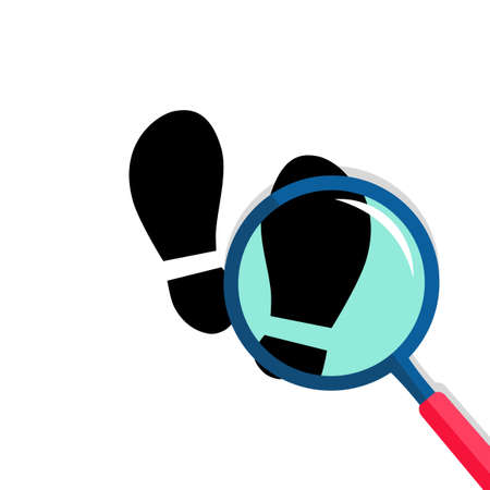 The magnifying glass detective is following in the black footsteps. Vector illustration eps 矢量图像
