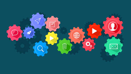 Cog icons and communication. The concept of communication on the Internet vector