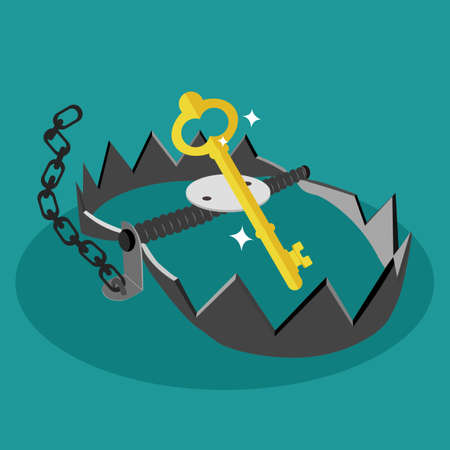 A trap and a golden key. Use the keys as bait. Vector illustration design eps