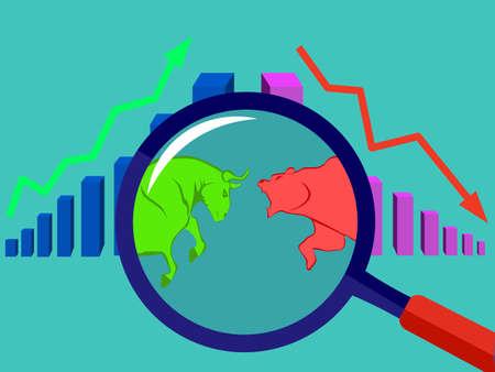Bull and bear stock market financial bar chart vector eps Ilustração