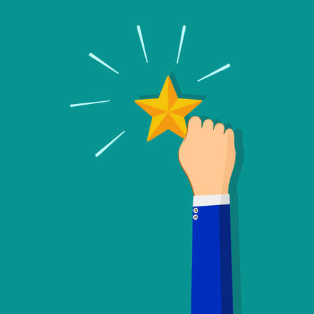 Human Resource Management or Talent Concept. Hand holding and Raise up a Golden Star vector