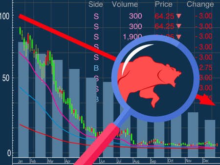 bear market  and red arrow downward trend line. bearish market concept vector