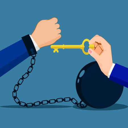 Break free. Freedom concept. Man in handcuffs. Unlocking handcuffs. End of arrest vector