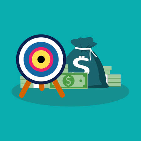 Target and money. Management and achievements. business aims vector