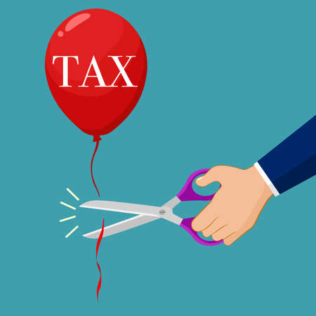 Businessmen use scissors to cut tax balloons. Business idea vector