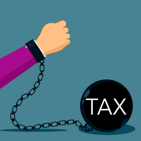 Taxpayers. Businessman hands are pulling the weight of taxes. Taxpayer Business Idea vector