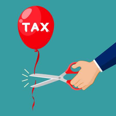 Businessmen use scissors to cut tax balloons. Business idea vector 向量圖像