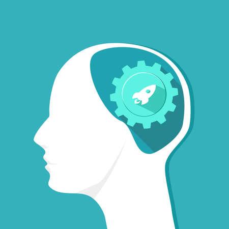 Rocket icon in the human head. Originality in the brain. Vector eps Ilustración de vector