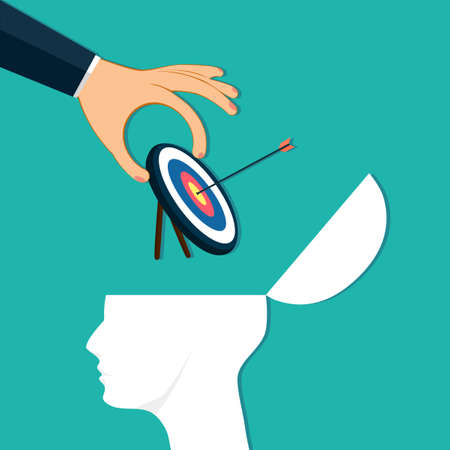 Hands place a target board in the human head. Describe your business goals. goals and strategies. Business concept vector
