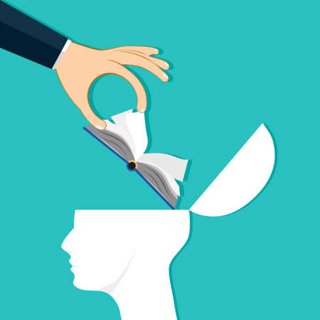 The hand put the book into the human head. The idea of putting knowledge to the brain. Vector illustration eps