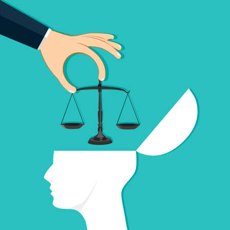 Hands put the scales on the human head. Build an awareness of justice. Vector illustration eps