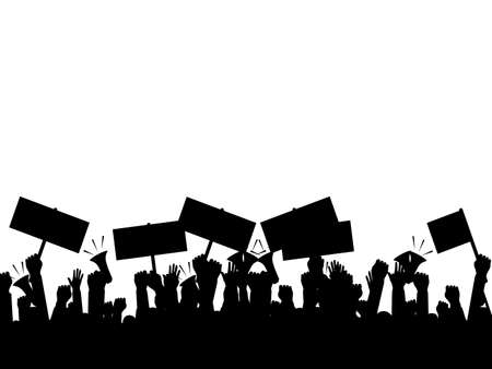 Silhouette crowd of people protesters. Protest. revolution. conflict. vector illustration eps Vettoriali