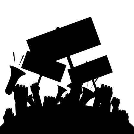 Silhouette crowd of people protesters. Protest. revolution. conflict. vector illustration eps