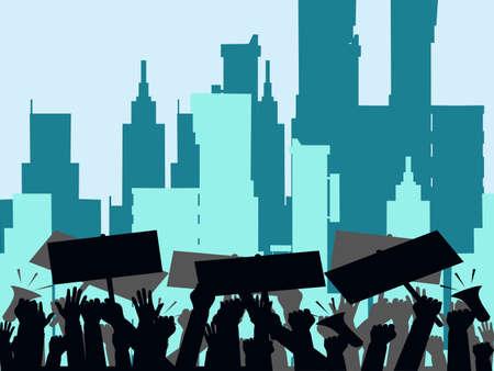 Protesters hands holding protest signs. crowd of angry people. crowd of people protesters. Vector illustration eps Ilustração Vetorial