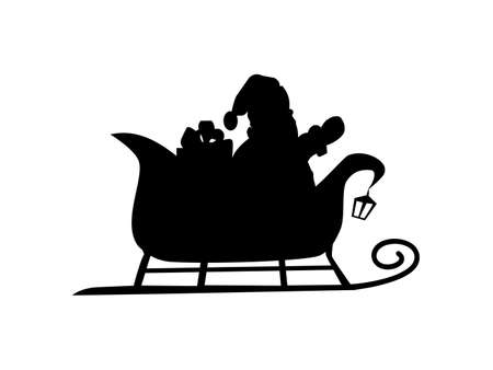 Vector illustrations of silhouette of Santa Claus flying on sleigh eps