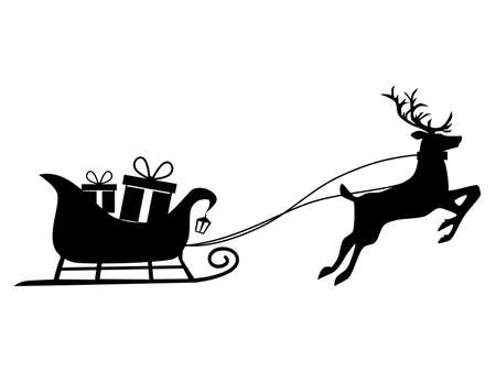 Gift box silhouette on a reindeer sleigh. Isolated on white background. Vector illustration