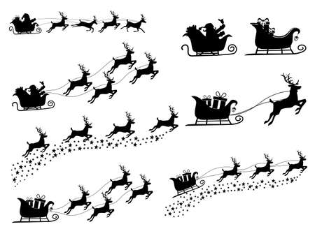 set of Silhouette Santa Claus on a reindeer sleigh. isolate on white background. Vector illustration eps