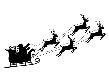 Silhouette of Santa Claus on a reindeer sleigh. isolate on white background. Vector illustration eps