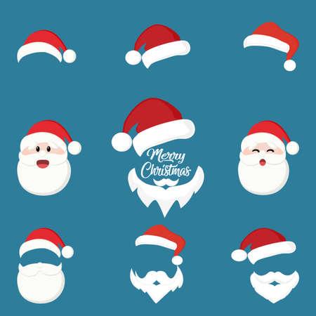 set of christmas hat and santa white beard. Merry christmas concept vector