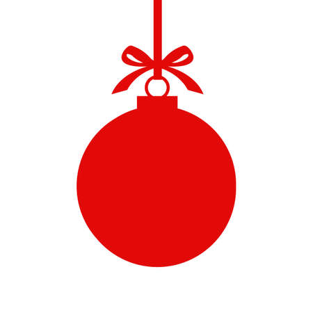 Red Christmas ball with ribbon and a bow. isolated on white background. Vector