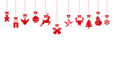 christmas ornaments hanging rope red. isolated on background. vector eps