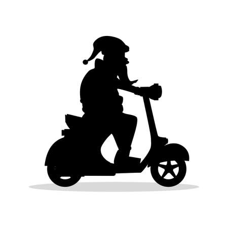 Silhouette of santa claus riding a scooter christmas holiday design. vector illustration eps
