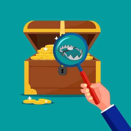 Use a magnifying glass to look at the traps inside the treasure chest. Treasure trap concept. vector