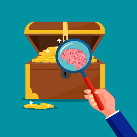 Use a magnifying glass to look at the brain in the treasure chest. The brain concept is a treasure. vector