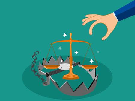 A trap that uses a scale is a bait. Deception Concept Vector Illustration