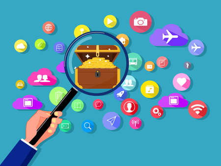 Finding treasures on online communication networks. Vector illustration